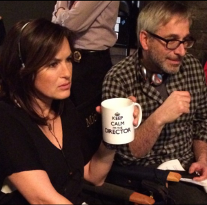 Mariska and Peter at the monitors.