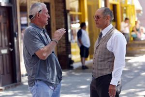 Michael Watkins and James Spader on the set of THE BLACKLIST Ep 102. (Photo credit: Will Hart / NBCUniversal)