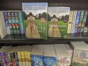 A display of the Bridgerton series books by Julia Quinn