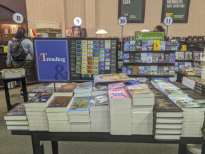 A display of #trending books at Barnes & Noble.