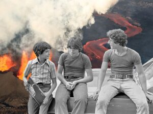 Art of people from the 70s sitting in front of an active volcano.