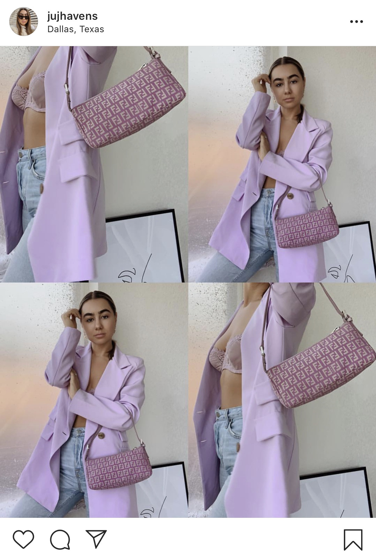 A woman in a purple jacket holding a purple purse.